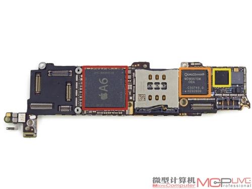 主板真容,左图中,红色:苹果a6apl0598soc,橙色:高通mdm 9615 mlte芯片